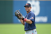 Jose Peraza (1) of the Gwinnett Braves warms up in the outfield prior to the game against the Charlotte Knights at BB&T BallPark on July 3, 2015 in Charlotte, North Carolina.  The Braves defeated the Knights 11-4 in game one of a day-night double header.  (Brian Westerholt/Four Seam Images)
