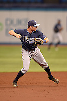 Tampa Bay Rays third baseman Grant Kay (92) during an Instructional League game against the Boston Red Sox on September 25, 2014 at Tropicana Field in St. Petersburg, Florida.  (Mike Janes/Four Seam Images)