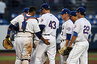 St. Lucie Mets starting pitcher Matt Harvey #43 is taken out of the game surrounded by Francisco Pena #11, Robbie Sheilds #3, and Stefan Welch #22 during a game against the Charlotte Stone Crabs at Digital Domain Ballpark on June 20, 2011 in Port St Lucie, Florida.  St. Lucie defeated Charlotte 3-2 in 11 innings.  (Mike Janes/Four Seam Images)