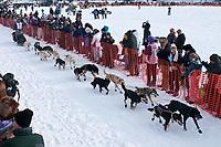 Ryan Redington team leaves the start line during the restart day of Iditarod 2009 in Willow, Alaska