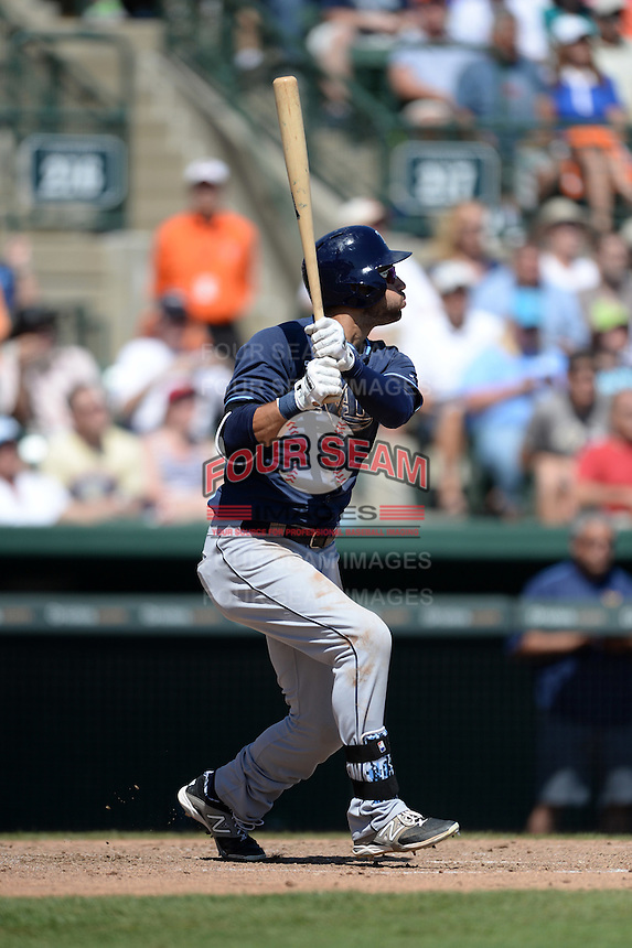 Tampa Bay Rays outfielder Kevin Kiermaier (39) during a Spring Training game against the Baltimore Orioles on March 14, 2015 at Ed Smith Stadium in Sarasota, Florida.  Tampa Bay defeated Baltimore 3-2.  (Mike Janes/Four Seam Images)