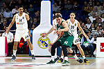 Real Madrid's Gustavo Ayon, Zalgiris' Edgaras Ulanovas and Real Madrid's Jaycee Carroll during Euroligue match between Real Madrid and Zalgiris Kaunas at Wizink Center in Madrid, Spain. April 4, 2019.  (ALTERPHOTOS/Alconada)