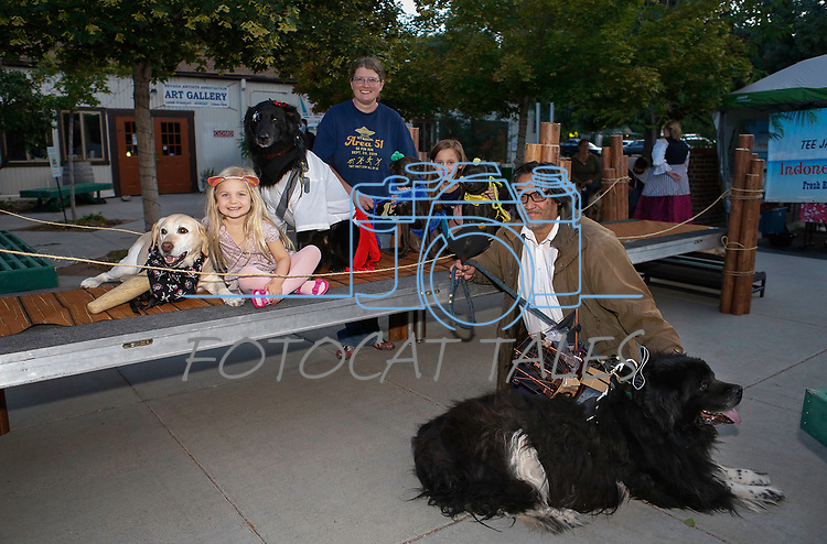 Contestants from the Scallywaggers Pirate Pup Parade at the Brewery Arts Center, in Carson City, Nev., on Wednesday, Sept. 18, 2019.<br />