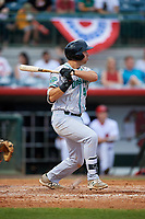 Daytona Tortugas first baseman Bruce Yari (44) follows through on a swing during a game against the Florida Fire Frogs on April 7, 2018 at Osceola County Stadium in Kissimmee, Florida.  Daytona defeated Florida 4-3 in a six inning rain shortened game.  (Mike Janes/Four Seam Images)