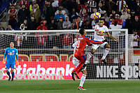Harrison, NJ - Thursday March 01, 2018: Diego Reyes, Tyler Adams. The New York Red Bulls defeated C.D. Olimpia 2-0 (3-1 on aggregate) during a 2018 CONCACAF Champions League Round of 16 match at Red Bull Arena.
