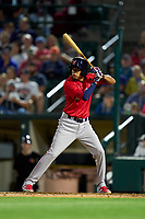 Worcester Red Sox Ricardo Cubillan (16) bats, making his Triple-A debut, during a game against the Rochester Red Wings on September 4, 2021 at Frontier Field in Rochester, New York.  (Mike Janes/Four Seam Images)