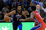 Dennis Smith Jr of Dallas Mavericks (L) in action against Amir Johnson of 76ers (R) during the NBA China Games 2018 match between Dallas Mavericks and Philadelphia 76ers at Universiade Center on October 08 2018 in Shenzhen, China. Photo by Marcio Rodrigo Machado / Power Sport Images