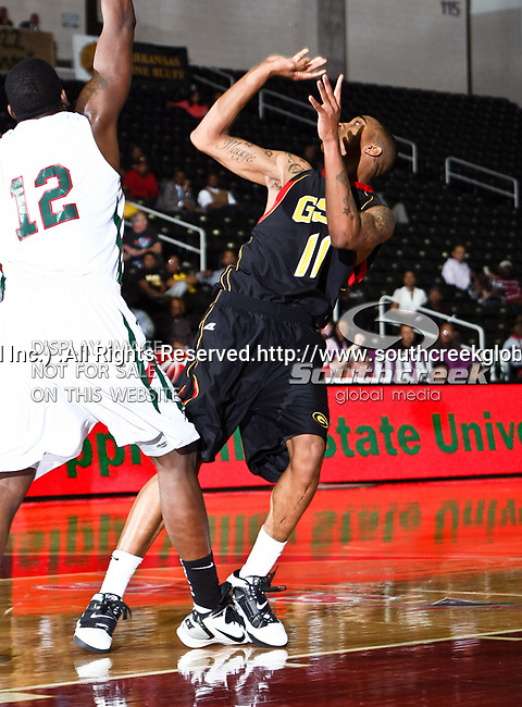 Grambling State Tigers guard/forward Justin Patton (11) in action during the SWAC Tournament game between the Grambling State Tigers and the Mississippi Valley State Delta Devils at the Special Events Center in Garland, Texas. Grambling State defeats Mississippi Valley 65 to 62