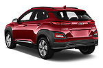 Car pictures of rear three quarter view of a 2019 Hyundai Kona EV Sky 5 Door SUV angular rear