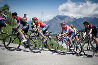 Maglia Rosa / overall leader Richard Carapaz (ECU/Movistar) surrounded by the other GC contenders up the Cima Campo climb<br /> <br /> Stage 20: Feltre to Croce D'Aune-Monte Avena (194km)<br /> 102nd Giro d'Italia 2019<br /> <br /> ©kramon