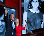 Republican Presidential candidate Mitt Romney joins his wife Ann after her speech at the 2012 Republican National Convention at the Tampa Bay Times Forum in Tampa on August 28, 2012.
