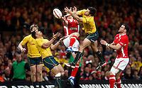 Photo: Richard Lane/Richard Lane Photography. Wales v Australia. Autumn International. 03/12/2011. Australia's Adam Ashley-Cooper gets up for a high ball.