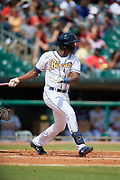 Montgomery Biscuits Jesus Sanchez (4) during a Southern League game against the Mobile BayBears on May 2, 2019 at Riverwalk Stadium in Montgomery, Alabama.  Mobile defeated Montgomery 3-1.  (Mike Janes/Four Seam Images)