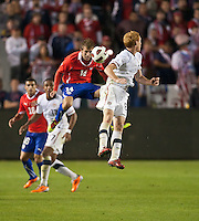 CARSON, CA – JANUARY 22: Chile midfielder Felipe Seymour (14) and USA midfielder Jeff Larentowicz (8) during the international friendly match between USA and Chile at the Home Depot Center, January 22, 2011 in Carson, California. Final score USA 1, Chile 1.