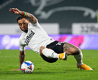 7th November 2020; Pride Park, Derby, East Midlands; English Football League Championship Football, Derby County versus Barnsley; Colin Kazim Richards of Derby County on the grass stretches for the ball