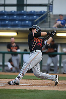 Ryan Scott (48) of the Modesto Nuts bats against the Rancho Cucamonga Quakes at LoanMart Field on August 1, 2017 in Rancho Cucamonga, California. Rancho Cucamonga defeated Modesto, 2-1. (Larry Goren/Four Seam Images)