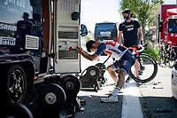 Matteo Moschetti (ITA/trek-Segafredo) stretching/warming up before the iTT<br /> <br /> 91st Baloise Belgium Tour 2021 (BEL/2.Pro)<br /> Stage 2 (ITT) from Knokke-Heist to Knokke-Heist (11.2km)<br /> <br /> ©kramon