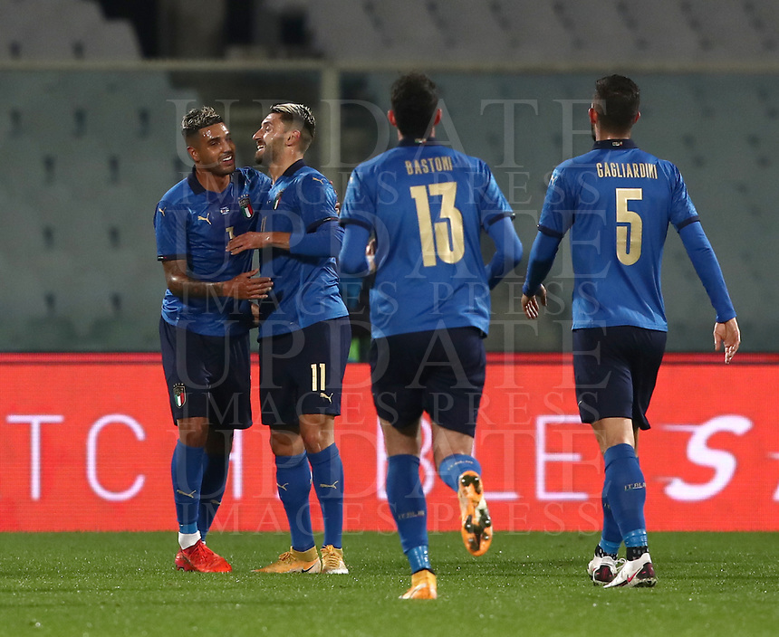 FBL- Friendly football match Italy vs Estonia at the Artemio Franchi stadium in Florence on November 11, 2020.<br /> Italy's Vincenzo Grifo (l) celebrates after scoring with his teammates during the friendly football match between Italy and Estonia at the Artemio Franchi stadium in Florence on November 11, <br /> UPDATE IMAGES PRESS/Isabella Bonotto