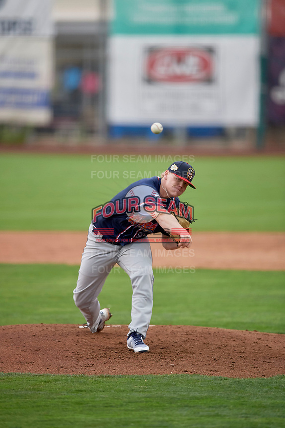 Rocky Mountain Vibes starting pitcher Paxton Schultz (29) delivers a pitch to the plate against the Ogden Raptors at Lindquist Field on July 4, 2019 in Ogden, Utah. The Raptors defeated the Vibes 4-2. (Stephen Smith/Four Seam Images)