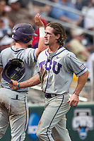 TCU Horned Frogs outfielder Cody Jones (1) against the LSU Tigers in the NCAA College World Series on June 14, 2015 at TD Ameritrade Park in Omaha, Nebraska. TCU defeated LSU 10-3. (Andrew Woolley/Four Seam Images)