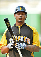 16 May 2012: Pittsburgh Pirates outfielder Jose Tabata awaits his turn in the batting cage prior to a game against the Washington Nationals at Nationals Park in Washington, DC. The Nationals defeated the Pirates 7-4 in the first game of their 2-game series. Mandatory Credit: Ed Wolfstein Photo