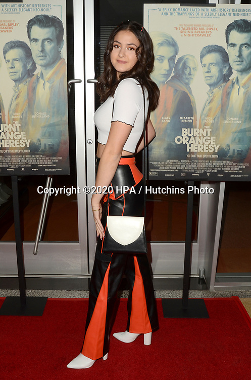"LOS ANGELES - MAR 2:  Olivia Cella at the ""The Burnt Orange Heresy"" Special Screening at the Linwood Dunn Theater on March 2, 2020 in Los Angeles, CA"