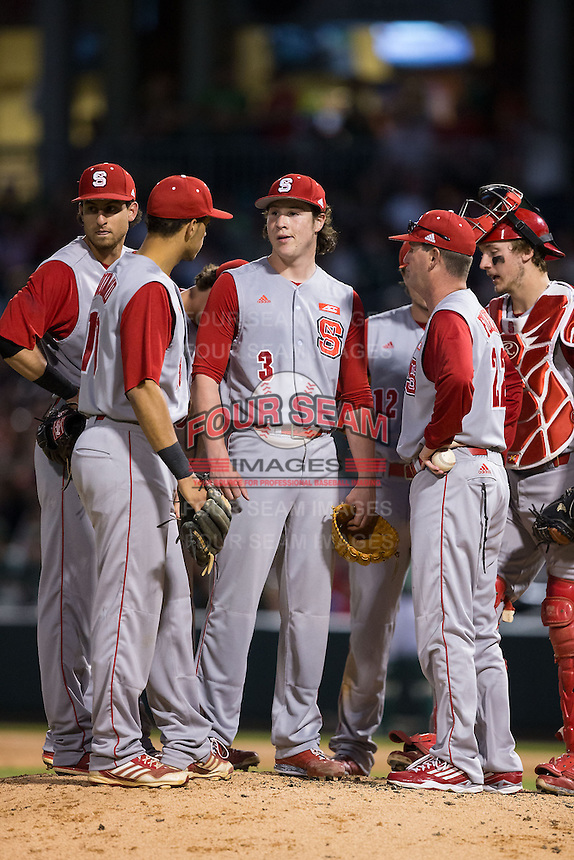 North Carolina State Wolfpack starting pitcher Ryan Williamson (3) waits for the relief pitcher to come in from the bullpen during the game against the Charlotte 49ers at BB&T Ballpark on March 31, 2015 in Charlotte, North Carolina.  The Wolfpack defeated the 49ers 10-6.  (Brian Westerholt/Four Seam Images)