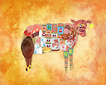 Illustration of cow with products over colored background
