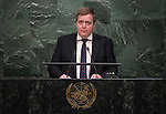 His Excellency Sigmundur Davið Gunnlaugsson, Prime Minister of the Republic of Iceland<br /> <br /> 6th plenary meeting High-level plenary meeting of the General Assembly (3rd meeting)