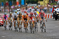 Professional Cofidis cyclist Remi Pauriol leads a small breakaway which takes a huge 15 second lead on the main peleton with just 2 laps to go on the Champs Elysees in Paris during the 2010 Tour de France