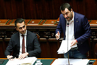 Luigi Di Maio and Matteo Salvini<br /> Rome February 13th 2019. Lower Chamber. Ministers of Internal Affairs, of Labour and of Health at the Question Time at the Chamber of Deputies.<br /> Foto Samantha Zucchi Insidefoto