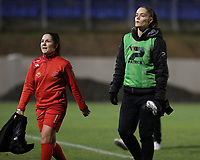 Taika De Koker (16) of Woluwe and Lies Tambeur (15) of Woluwe pictured after the warm up before a female soccer game between FC Femina White Star Woluwe and Club Brugge YLA on the eleventh matchday of the 2020 - 2021 season of Belgian Scooore Womens Super League , Friday 22 January 2021  in Woluwe , Belgium . PHOTO SPORTPIX.BE   SPP   SEVIL OKTEM