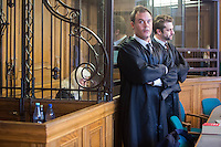 Der Angeklagte Rolf Zielezinski vor Prozessbeginn mit seinen Anwälten // Im Berliner Landgericht beginnt der Prozess gegen Rolf Zielezinski nach dem Mord an Luke Holland.