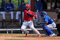 Philadelphia Phillies Rodolfo Duran (10) bats during an Extended Spring Training game against the Toronto Blue Jays on June 12, 2021 at the Carpenter Complex in Clearwater, Florida. (Mike Janes/Four Seam Images)