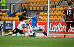 St Johnstone v Motherwell...22.08.15  SPFL   McDiarmid Park, Perth<br /> Steven MacLean scores his first goal<br /> Picture by Graeme Hart.<br /> Copyright Perthshire Picture Agency<br /> Tel: 01738 623350  Mobile: 07990 594431