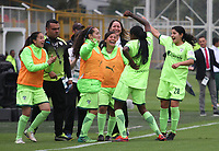 BOGOTÁ - COLOMBIA, 28-03-2018: Ivonne Chacon jugadora de La Equidad celebra el gol  contra Patriotas durante partido por  la sexta Fecha de Liga Aguila Femenina 2018 jugado en el estadio Metropolitano de Techo de la ciudad de Bogotá. / Ivonne Chacon player of Equidad celebrates his goal agaisnt Patriotas  during the match for the date 6 of the Women's Aguila  League 2018 played at the Metroplitano de Techo  Stadium in Bogota city. Photo: VizzorImage / Felipe Caicedo / Staff.