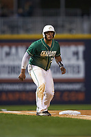 Logan Sherer (25) of the Charlotte 49ers takes his lead off of third base against the Georgia Bulldogs at BB&T Ballpark on March 8, 2016 in Charlotte, North Carolina. The 49ers defeated the Bulldogs 15-4. (Brian Westerholt/Four Seam Images)