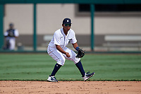 Detroit Tigers second baseman Wenceel Perez (80) fields a ground ball during a Florida Instructional League game against the Pittsburgh Pirates on October 16, 2020 at Joker Marchant Stadium in Lakeland, Florida.  (Mike Janes/Four Seam Images)