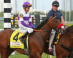 HALLANDALE BEACH, FL -APRIL 02:  Scenes from the Florida Derby.  #4 Nyquist (KY) with jockey Mario Qutierrez in the post parade for  the Florida Derby GI on April 2nd, 2016 at Gulfstream Park in Hallandale Beach, Florida. (Photo by Liz Lamont/Eclipse Sportswire/Getty Images)
