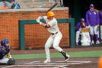 Tennessee Volunteers right fielder Jordan Beck (27) at bat against the LSU Tigers on Robert M. Lindsay Field at Lindsey Nelson Stadium on March 28, 2021, in Knoxville, Tennessee. (Danny Parker/Four Seam Images)