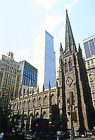 New York: Trinity Church, 1846. Richard Upjohn, Architect. On Broadway and Wall St.  Gothic Revival. Historic Landmark 1976. Photo '85.