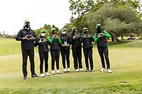 STANFORD, CA - APRIL 25: Derek Radley, Tze-Han Lin, Hsin-Yu Lu, Briana Chacon, Sofie Kibsgaard Nielsen, Ching-Tzu Chen, Monica Vaughn at Stanford Golf Course on April 25, 2021 in Stanford, California.