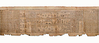 "Ancient Egyptian Book of the Dead papyrus - Spell 105 for gratifying the deceased with Ka, Iufankh's Book of the Dead, Ptolemaic period (332-30BC).Turin Egyptian Museum White Background<br /> <br /> The spell is "" Hail to thee, my spirit, my lifetime. Behold I am come unto thee risen, powerful, posessed of a soul, mighty.<br /> <br /> You who weighs in the balance. may truth rise to the nose of Ra, on that day of judgement, ley not my head be taken away from me.""<br /> <br /> The translation of  Iuefankh's Book of the Dead papyrus by Richard Lepsius marked a truning point in the studies of ancient Egyptian funereal studies."