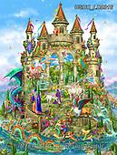 Liz,LANDSCAPES, LANDSCHAFTEN,fantasy,castle,unicorns,dragon, PAISAJES, LizDillon, paintings+++++,USHCLD0316,#L#, EVERYDAY