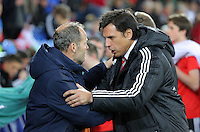 (L-R) Netherlands manager Danny Blind greeted by Wales manager Chris Coleman during the Wales v Netherlands  International Friendly, at Cardiff City Stadium, Cardiff, Wales, United Kingdom, 13 November 2015.
