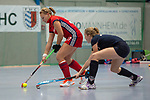 GER - Mannheim, Germany, December 09: During the 1. Bundesliga Sued women indoor hockey match between Mannheimer HC (red) and Ruesselsheimer RK (blue) on December 9, 2018 at Irma-Roechling-Halle in Mannheim, Germany. Final score 4-3. (Photo by Dirk Markgraf / www.265-images.com) *** Local caption ***