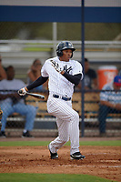 New York Yankees Rashad Crawford (36) hits a single during an Instructional League game against the Pittsburgh Pirates on September 29, 2017 at the Yankees Minor League Complex in Tampa, Florida.  (Mike Janes/Four Seam Images)