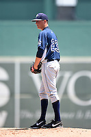 GCL Rays starting pitcher Cameron Varga (23) gets ready to deliver a pitch during a game against the GCL Red Sox on June 25, 2014 at JetBlue Park at Fenway South in Fort Myers, Florida.  GCL Red Sox defeated the GCL Rays 7-0.  (Mike Janes/Four Seam Images)