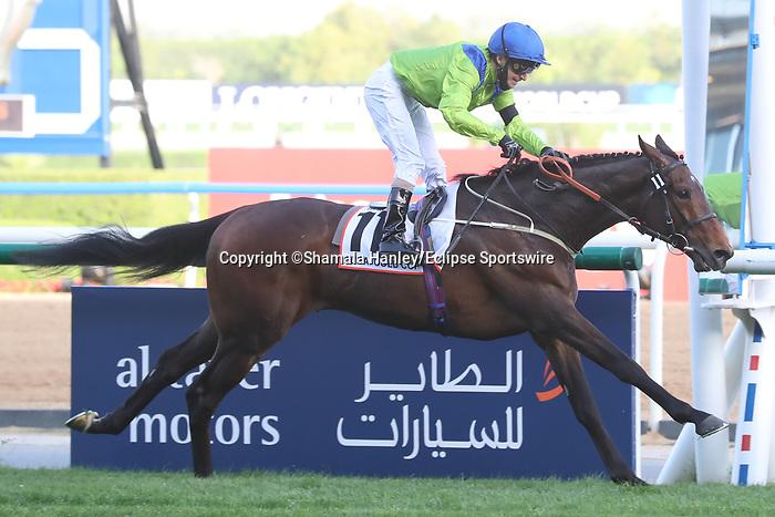 March 27, 2021: SUBJECTIVIST #11 ridden by Joe Fanning wins The Group 2 Dubai Gold Cup for Mark Johnston on Dubai World Cup Day, Meydan Racecourse, Dubai, UAE. Shamela Hanley/Eclipse Sportswire/CSM