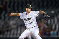 Charlotte Knights relief pitcher Ian Hamilton (29) in action against the Toledo Mud Hens at BB&T BallPark on April 24, 2019 in Charlotte, North Carolina. The Knights defeated the Mud Hens 9-6. (Brian Westerholt/Four Seam Images)